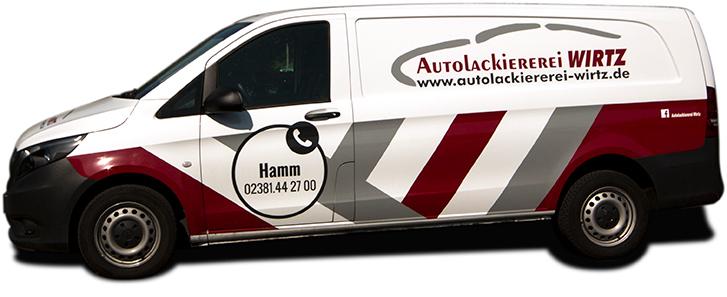 Firmenfahrzeug der Autolackiererei Wirtz in Hamm.